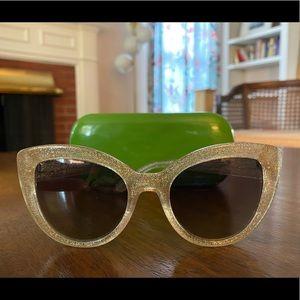 Kate Spade La Brenda Gold Glitter Sunglasses